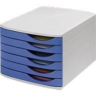 ATLANTA ladebox, 6 vlakke schuiflades gesloten, A4, polystyreen, grijs/blauw