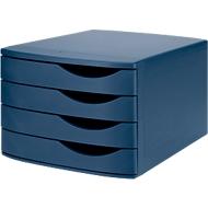 ATLANTA Schubladenbox, 4 Schubladen geschlossen, DIN A4, Polystyrol, blau