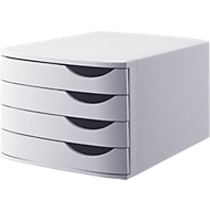 ATLANTA Schubladenbox, 4 Schubladen geschlossen, DIN A4, Polystyrol, lichtgrau