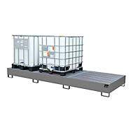 Auffangwanne AW 1000-3, für 3 IBC-Container à 1000 l oder 10 Fässer à 200 l, L 3850 x B 1300 x H 340 mm, unterfahrbar, mausgrau
