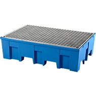 Auffangwanne, für 2 Fässer à 200 l, unterfahrbar, B 865 x T 1245 x H 350 mm, mit verzinktem Gitterrost, Polyethylen, blau