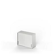 Aufsatz-Schiebetürenschrank TETRIS WOOD, 2 OH, B 1000, Höhe inkl. Gleiter, Sockel (optional), lichtgrau
