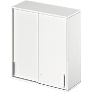Aufsatz-Schiebetürenschrank TETRIS WOOD, 3 OH, B 1000 mm, weiß
