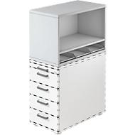 Aufsatzregal , für Standcontainer, 1 Fachboden, lichtgrau