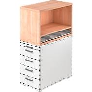 Aufsatzregal , für Standcontainer, 1 Fachboden, Nußbaum-Dekor