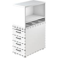 Aufsatzregal , für Standcontainer, 1 Fachboden, weiß