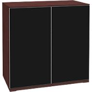 Aufsatzschrank SOLUS, Acrylglastüren, schwarzglänzend, 2 OH, H 760 x B 800 x T 440 mm,