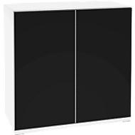 Aufsatzschrank SOLUS, Acrylglastüren, schwarzglänzend, 2 OH, H 760 x B 800 x T 440 mm, weiß