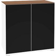 Aufsatzschrank SOLUS, Acrylglastüren, schwarzglänzend, 2 OH, H 760 x B 800 x T 440 mm, weiß/Kirsche-Romana
