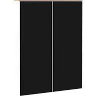 Aufsatzschrank SOLUS, Acrylglastüren, schwarzglänzend, 3 OH, H 1080 x B 800 x T 440 mm, weiß/Kirsche-Romana