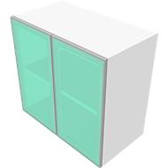 Aufsatzschrank SOLUS, Glastüren, 3 OH, H 1080 x B 800 x T 440 mm, weiß/Kirsche-Romana