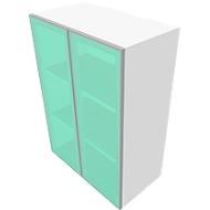Aufsatzschrank SOLUS, Glastüren, satiniert, 2 OH,  H 720 x B 800 x T 440 mm, weiß/Kirsche-Romana