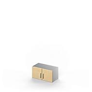 Aufsatzschrank TETRIS SOLID,1 OH, B 800 x H 383 mm, ohne Abdeckplatte, ohne Boden, Ahorn-Dekor/weißalu