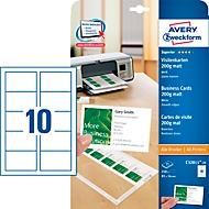 AVERY cartes de visite Quick&Clean 200 g/m², blanc, 250 pièces