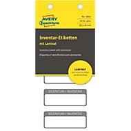 Avery Inventar-Etiketten mit Laminat 6901, 50 Stück, schwarz, 50 x 20 mm