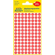 Avery Markierungspunkte 3589, wiederablösbar, 416 Stück, Ø 8 mm, rot