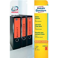 AVERY® Zweckform Étiquettes pour classeur à levier, couleur, L4766-20, 61 x 192 mm, 80 étiquettes/paquet, rouge