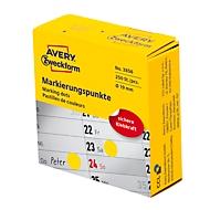 Avery Zweckform Markierungspunkte Spenderbox, permanent haftend, Dm. 19 mm, gelb