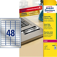 AVERY® Zweckform Typenschildetiketten, rechteckig, f. alle s/w Laserdrucker, 45,7 x 21,2 mm, silbern