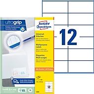 Avery Zweckform Universal Etiketten 3424, ultragrip, A4, matt, 1200 Etiketten