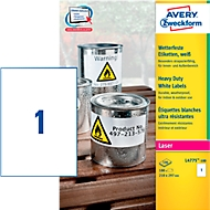 AVERY® Zweckform weerbestendige folie-etiketten L4775-100, 210 x 297 mm, permanent, wit
