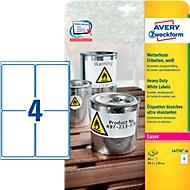 Avery Zweckform Wetterfeste Folienetiketten L4774-20, A4, 80 Etiketten, weiß