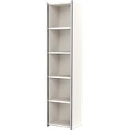 AXXETO boekenkast, 5 OH, B 410 x D 380 x H 1830 mm, wit