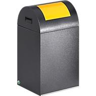 Bac à déchets (non) recyclables anti-incendie 40R, argent antique/jaune