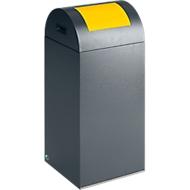 Bac à déchets (non) recyclables anti-incendie 55R, argent antique/jaune
