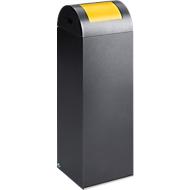 Bac à déchets (non) recyclables anti-incendie 85R, argent antique/jaune