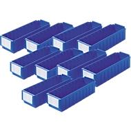 Bacs pour rayonnage RK 421, 8 cases, bleu, 10 pièces