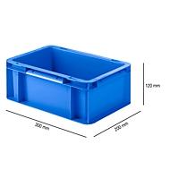 Bak in EURO-maat EF 3120, L 300 x B 200 x H 120 mm, zonder deksel, 4,2 l, blauw