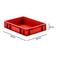 Bak in EURO-maat EF 4080, van PP, L 400 X B 300 X H 80 mm, inhoud 7,4 l, gesloten wanden, gesloten handgreep, rood