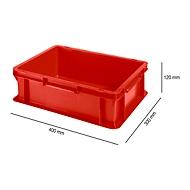 Bak in EURO-maat EF 4120,  L 400 x B 300 x H 120 mm, 10,1 l, stapelbaar, polypropyleen, rood