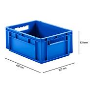 Bak in EURO-maat EF 4170, L 400 x B 300 x H 170 mm, zonder deksel, 15,7 l, blauw