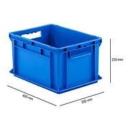 Bak in EURO-maat EF 4220, L 400 x B 300 x H 220 mm, inhoud 20,4 l, stapelbaar, polypropyleen, blauw