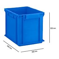 Bak in EURO-maat EF 4320, van PP, L 400 x B 300 x H 320 mm, inhoud 29,5 l, gesloten wanden, gesloten handgreep, blauw