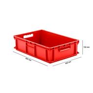 Bak in EURO-maat EF 6150, van PP, inhoud 29,4 l, gesloten wanden, rood, open handgreep