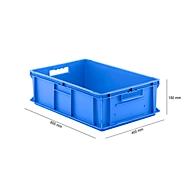 Bak in EURO-maat EF 6180, L 600 x B 400 x H 180 mm, inhoud 35,4 l, stapelbaar, polypropyleen, blauw