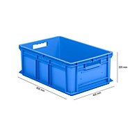 Bak in EURO-maat EF 6220, L 600 x B 400 x H 220 mm, inhoud 43,5 l, blauw