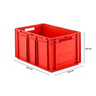 Bak in EURO-maat EF 6320, L 600 x B 400 x H 320 mm, inhoud 63,7 l, stapelbaar, polypropyleen, rood