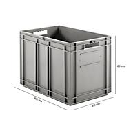 Bak in EURO-maat EF 6420, L 600 x B 400 x H 420 mm, 83,8 l, grijs