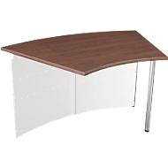 Balie Milano, aanbouwtafel 45°, wit/aluminum zilver