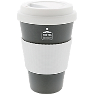 Bambus Kaffeebecher ECO maxi, 430 ml, Deckel & Griff, spülm.geeignet, Werbedruck 20 x 15 mm, grau