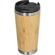Bambus Thermobecher, 350 ml, doppelwandig, verschließbare Trinköffnung, Tampondruck 50 x 30 mm