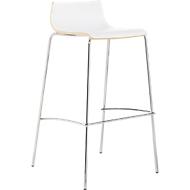 Barhocker Sigman, geformte Sitzfläche, mit Querstrebe, Sitzhöhe 740 mm, weiß