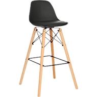 Barhocker STEELWOOD, Kunststoff, mit Holzbeinen, Sitzkissen, Sitzhöhe 740 mm, 2 Stk., schwarz