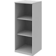 BARI boekenkast, 3 OH, 2 legborden, spaanplaat, B 427 x D 430 x H 1117 mm, lichtgrijs
