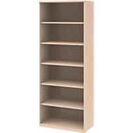 BARI boekenkast, 6 OH, 5 legborden, spaanplaat, B 800 x D 430 x H 2174 mm, ahorndecor