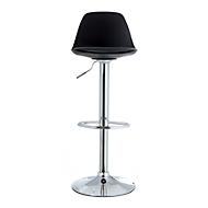 Barkruk Paperflow Bobba, PP zitting met zitkussen, in hoogte verstelbaar, 360° draaibaar, H 590 - 710 mm, zwart, set van 2